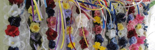 Close up of flower decorations for the Wilbur, NE Czech festival.