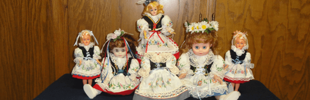 Czech decorative dolls wearing traditional Czech clothes.