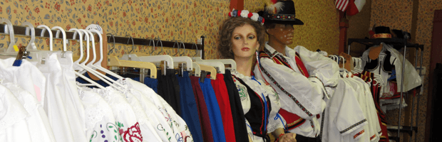 Clothes on mannequins for the Czech Fest in Wilbur, NE.